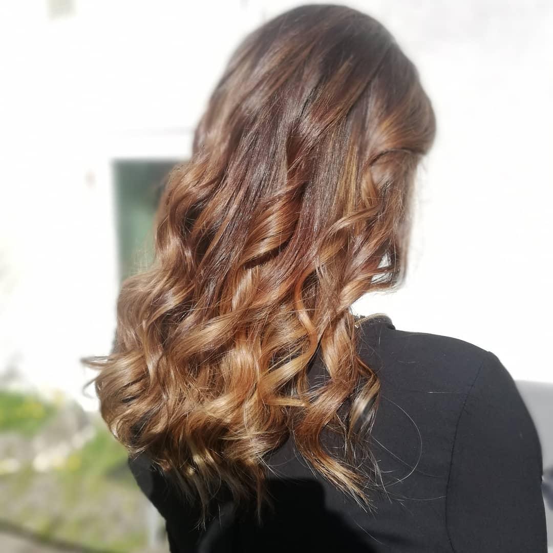 couleur ombré chatain cheveux longs
